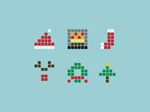 Pixel-Christmas-Icons-Vector
